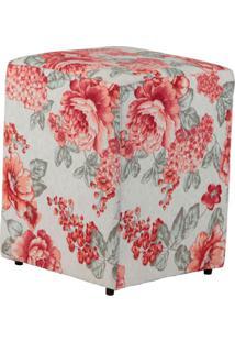 Puff Quadrado Cubo Jacguard Floral Rosa E Bege Ii