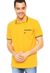 Camisa Polo Cavalera Bordado Amarela