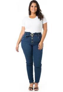 Calça Jeans Com Abotoamento E Cinto Plus Size Confidencial Extra Feminina - Feminino-Azul