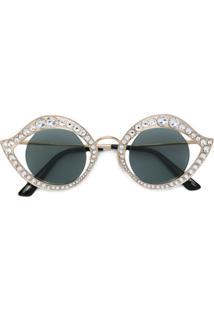 Gucci Eyewear Óculos De Sol Gatinho - Metálico