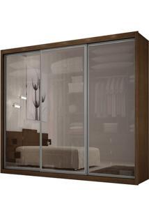 Guarda-Roupa Ravena Top Reflecta Com Espelho - 3 Portas - 100% Mdf - Castor