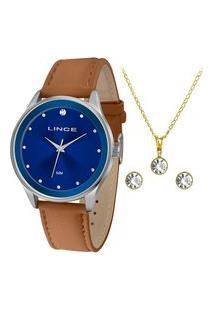 Kit Relógio Feminino Lince Lrcj091L K860D1Mx Analógico 50M + Conjunto De Semijoia | Lince | Marrom | U