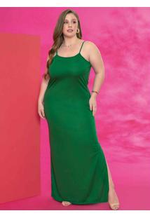 Vestido Longo Verde Com Alças E Fendas Plus Size