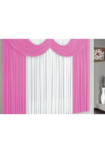 Cortina Riviera 2,00M X 1,70M Para Varão Simples Borda Bordados Enxovais Rosa/Branco