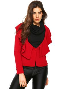 Blazer Ana Hickmann Textura Vermelho