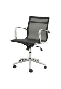 Cadeira Sevilha Eames Baixa Cromada Tela Preta - 38053 Preto