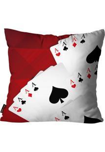 Capa Para Almofada Premium Cetim Mdecore Cartas Vermelha 45X45Cm