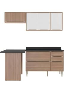 Cozinha Compacta Multimoveis Calabria 5460 Nogueira Branco Se