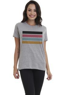 Camiseta Jay Jay Bã¡Sica Listras Cinza Mescla Dtg - Cinza - Feminino - Algodã£O - Dafiti