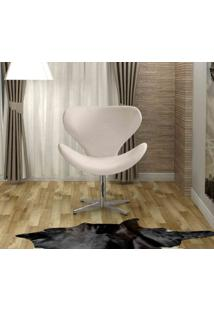 Poltrona Swan Base Giratoria Aluminio Bella Decor -Bege