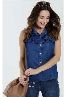 Camisa Feminina Jeans Sem Mangas Babado Marisa