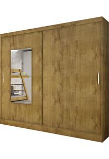 Guarda Roupa Ônix 2 Portas Com Espelho Freijó Dourado
