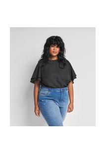 Blusa Lisa Em Crepe Com Aplicações No Decote Curve E Plus Size Preto