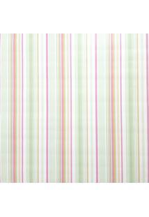 Papel De Parede Lavável Listrado Rosa Verde Laranja E Branco Fwb