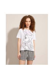 Pijama Manga Curta Minnie E Mickey Branco