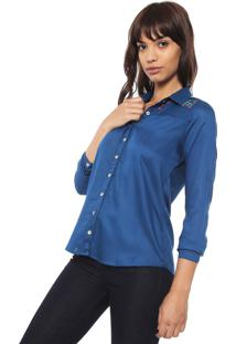 Camisa Enfim Bordada Azul