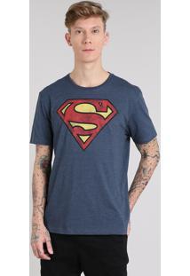 Camiseta Masculina Super Homem Manga Curta Gola Careca Azul Marinho