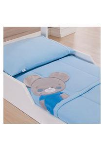 Edredom De Malha 3D Para Mini Cama Com Bordado - Azul Baby Joy