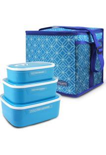 Conjunto Kit De 3 Peças Potes Para Alimentos E Bolsa Térmica Tam G Fitness Jacki Design Azul - Tricae