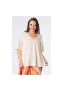 Blusa Almaria Plus Size Munny Ampla Decote V Off-White