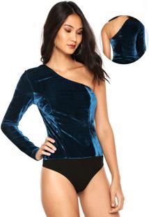 Body Colcci Veludo Azul