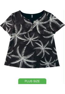 Blusa Com Estampa Tropical Preto