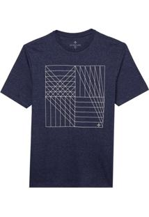 Camiseta Dudalina Manga Curta Decote Careca Estampa Geométrica Malha Masculina (Azul Medio, G)