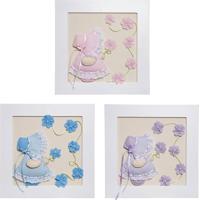 2d5c5e046 Trio De Quadros Camponesas Com Flores Bebê Infantil Potinho De Mel Colorido