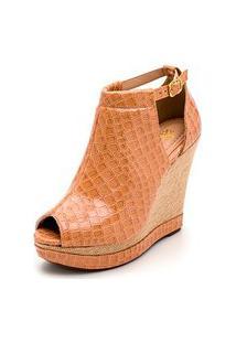 Sandalia Anabela Batta Shoes Salto Alto Com Fivela Solado Antiderrapante Caramelo
