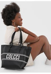 Bolsa Sacola Colcci Listras Lettering Preta - Kanui