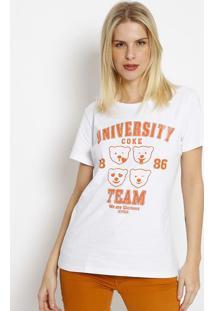 "Camiseta ""University Cokeâ® Team""- Branca & Laranja- Coca-Cola"