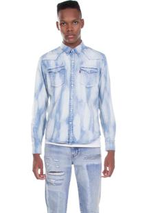 Camisa Jeans Levis Masculino Barstow Western Clara Azul