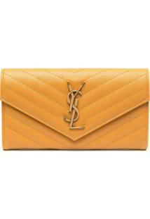 Saint Laurent Carteira Com Placa De Logo - Amarelo
