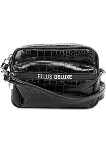 Pochete Ellus Belt Bag Croco Feminina - Feminino-Preto
