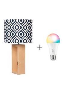 Abajur Nook Cilindrico Azul - Carambola + Lampada Led Inteligente Rgb Soquete E27 - Hi Geonav