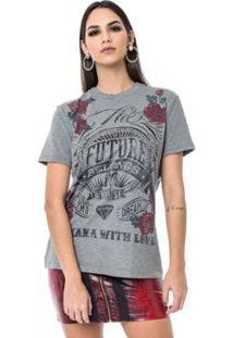 Camiseta Moikana Malha Future Feminina - Feminino-Cinza