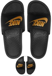 Chinelo Slide Nike Sportswear Benassi Just Do It Preto/Dourado