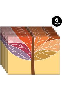 Jogo Americano Mdecore Abstrato 40X28Cm Colorido 6Pçs