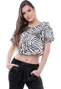 Blusa Manga Curta Cropped Estampada Pop Me Feminina - Feminino-Branco