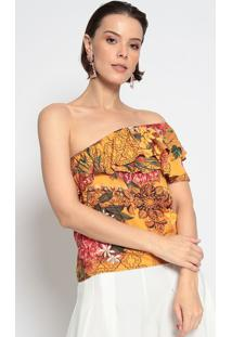 Blusa Ombro ÚNica Com Recorte- Amarela & Rosa- Gata Gatabakana