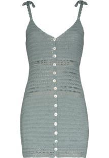 She Made Me Zari Crochet-Knit Mini Dress - Azul