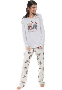Pijama Cor Com Amor Estampado Cinza/Off-White