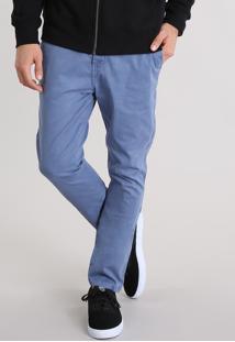 Calça Masculina Chino Carrot Em Algodão + Sustentável Azul