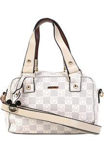Bolsa Gash Mini Bag Monograma Mickey Alça Transversal Feminina - Feminino-Bege