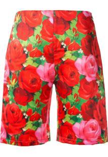 Richard Quinn Bermuda De Alfaiataria Com Estampa Floral - Vermelho