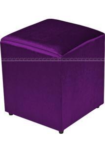Puff Quadrado Decorativo Tecido 548 Lym Decor Roxo Brilho