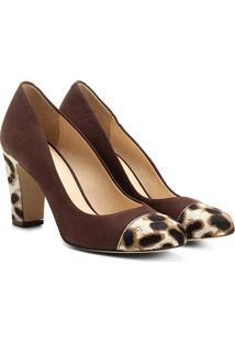 Scarpin Couro Shoestock Salto Alto Mix Pelo - Feminino-Café
