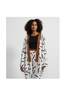 Robe Kimono Curto Em Viscose Estampa Pinceladas E Animal Print Onça | Lov | Branco | U