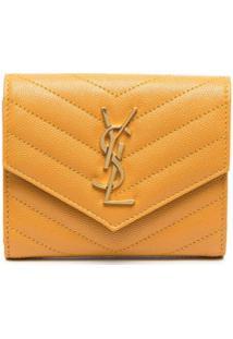 Saint Laurent Carteira Envelope Com Placa Monogramada - Amarelo