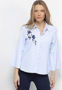 Camisa Facinelli Listrada Bordada Feminina - Feminino-Azul